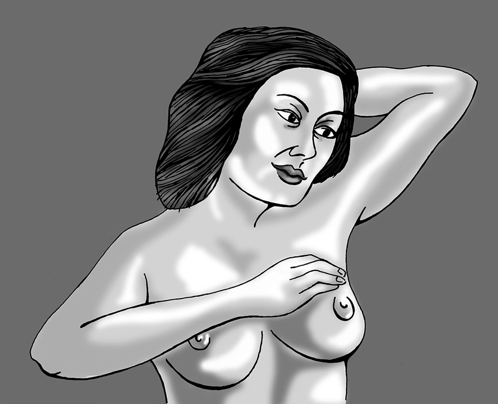 woman checking her breasts