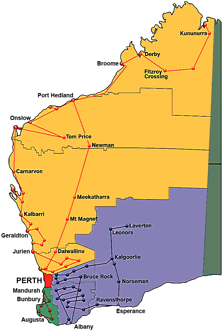 BreastScreen WA - Map of western australia with towns